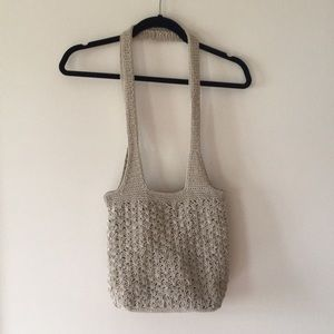 Tan Knit Woven Sumer Shoulder Bag